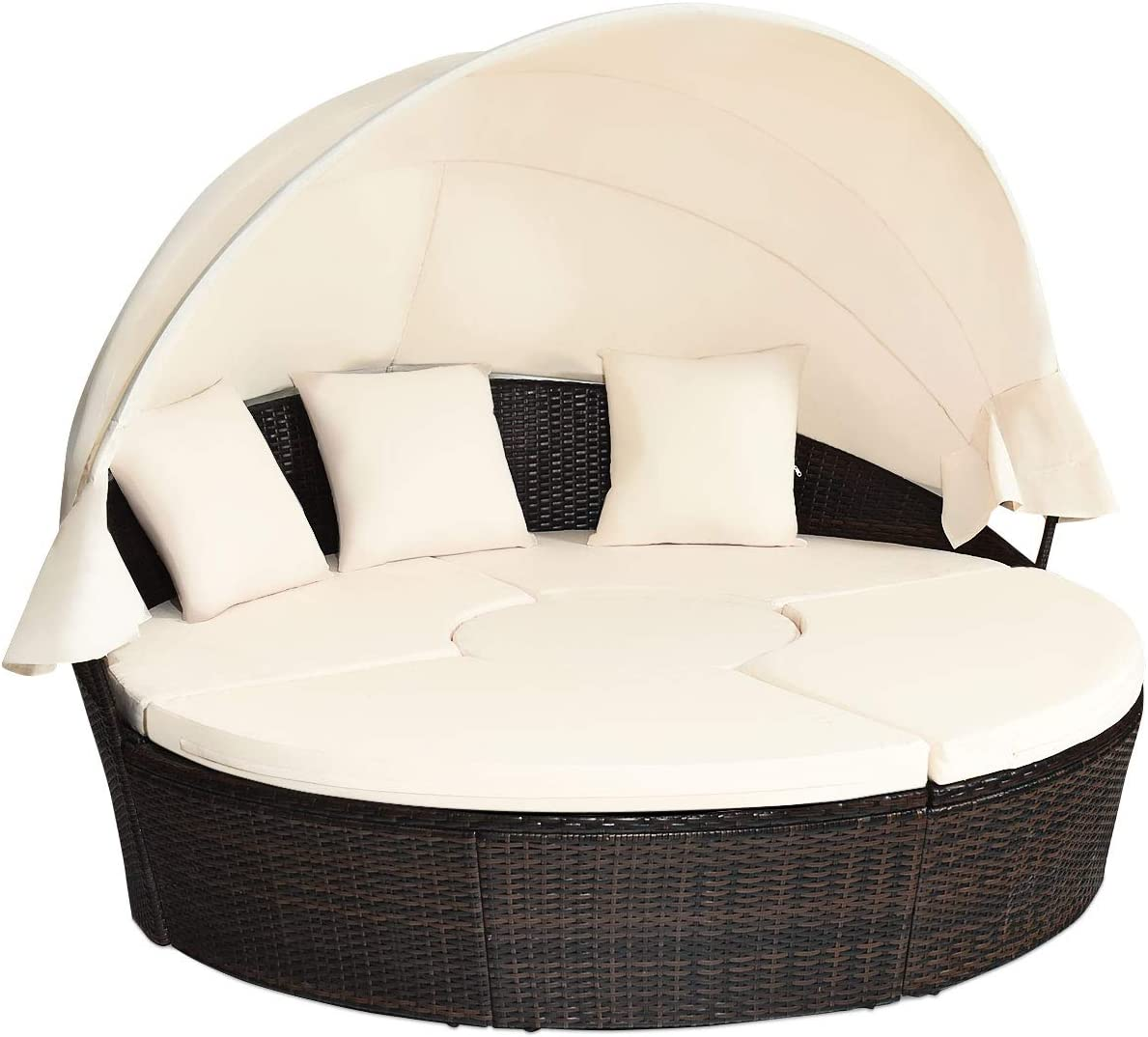 Max 84% OFF Tangkula Patio Round Daybed Low price with Canopy Outdoor Wic Retractable