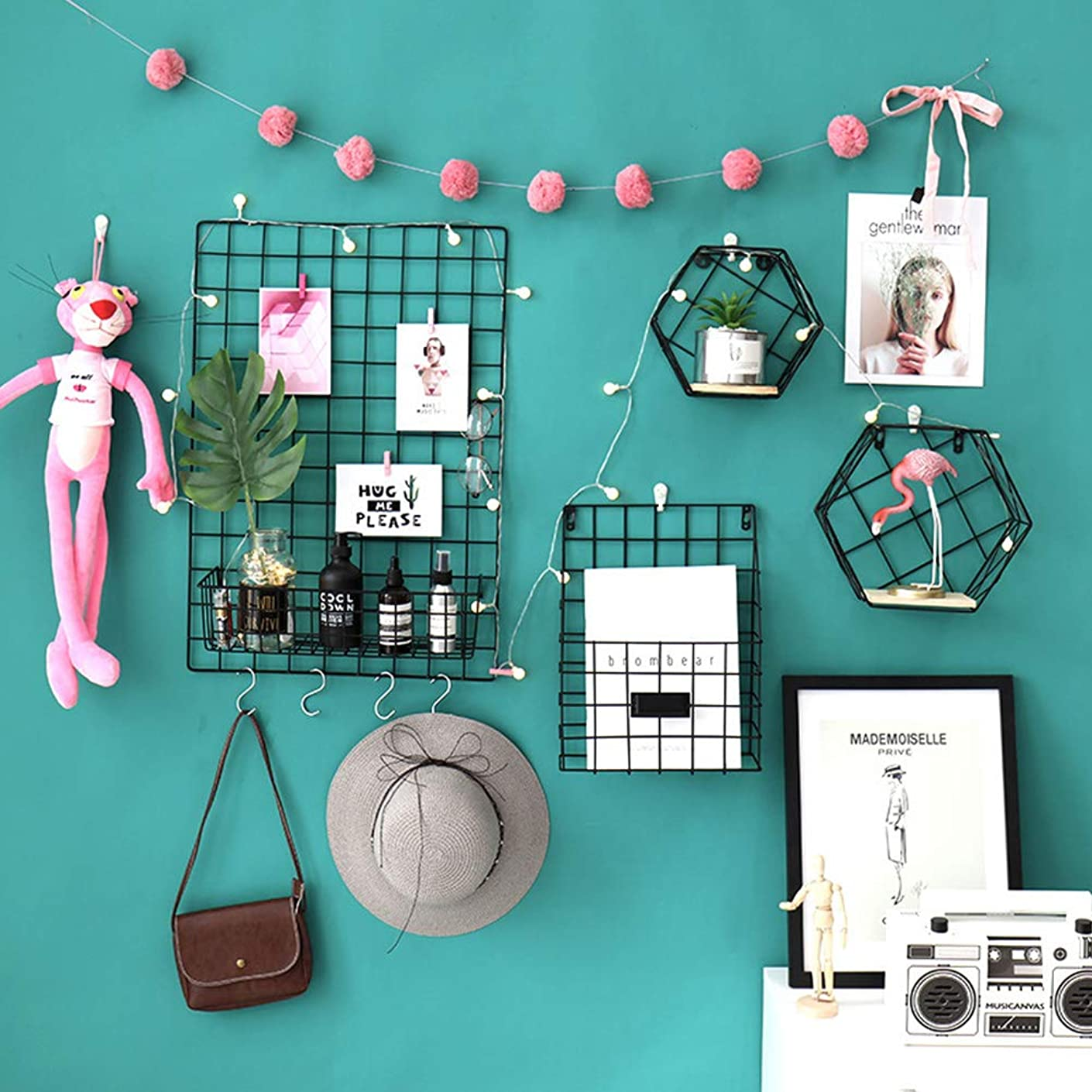 Fesjoy DIY Wire Grid Panel and Accessories Photograph Wall Picture Hanging Wall Air Plants Home Decoration Accessor