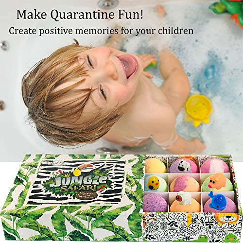 Bath Bombs for Kids with Surprise Inside - Set of 12 Organic Bubble Bath Fizzies with Jungle Animal Toys. G   entle and Kids Safe Spa Bath Fizz Balls Kit. Birthday or Christmas Gift for Girls and Boys