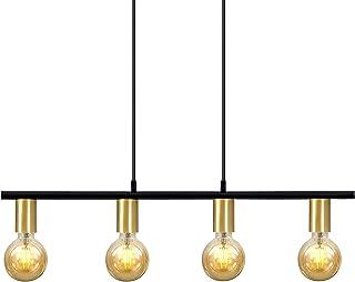 Ouglres Lámpara de techo vintage de metal dorado, 4 focos, aluminio, lámpara de techo retro, para salón, restaurante, bar, oficina, color: negro/dorado, casquillo: E27, 1 pack