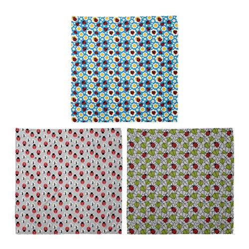 ABAKUHAUS Pack de 3 Bandanas Unisex, Resumen margaritas error bichos árbol de la flor de la inspiración ecológica, Multicolor