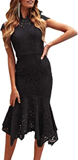ZESICA Women's Retro Lace Floral Sleeveless High Neck Mermaid Cocktail Evening Party Dress