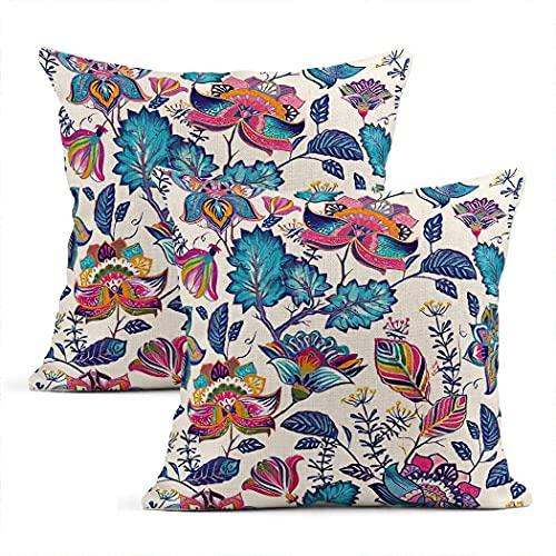 Batik - Federa per cuscino quadrata, in cotone, motivo floreale, stile provenzale, per soggiorno, camera da letto, divano, sedia, 45 x 45 cm
