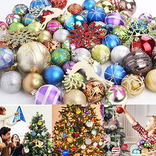 Etmury Palline di Natale Albero di Natale Palla Decorazioni per Alberi di Natale Nozze, Partito Decorazione Casuale 60-70 (3-8cm)