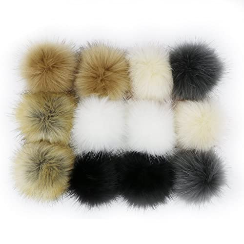 04dc65969de WPQES DIY 12pcs Faux Fox Fur Fluffy Pompom Ball with Elastic Cord for  Knitting Hat Hats