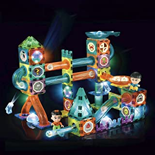 ALKISS Glowing Marble Run,3D Magnetic Tiles Race Track Magnet Building Construction Block Educational Toy Gift to Learn an...