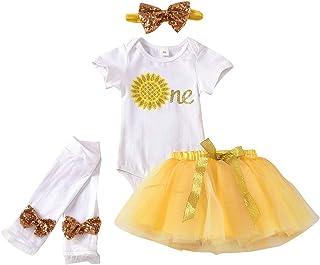 Baby Girls 1st Birthday Outfit Sweet One Birthday Romper+Donut Tutu Skirt+Headband Clothes Set