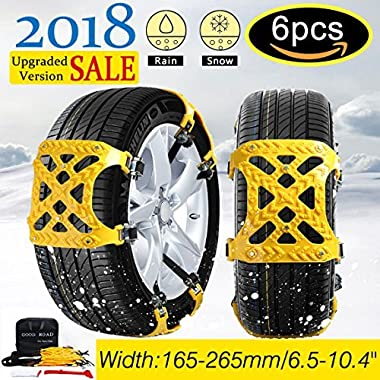 【NEW 2018 VERSION 】Snow Chains Car Anti Slip Tire Chains Adjustable Anti-Skid Chains Car Tire Snow Chains Fits for Most Car/SUV/Truck-Set of 6 Width 165-265mm/6.5-10.4''
