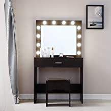 Vanity Makeup Table Set with Lighted Mirror - NXKang Vanity Set with 12 LED Lights Mirror and Cushioned Stool, Dressing Table Writing Desk with Bench for Bedroom,Bathroom,2 Drawers photo