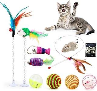 Fansport 11 Piezas Juguete Interactivo Gato ,Juguetes para Gatos con Campanas y Catnip Ball y Plumas y Bolas Varias para Gatos