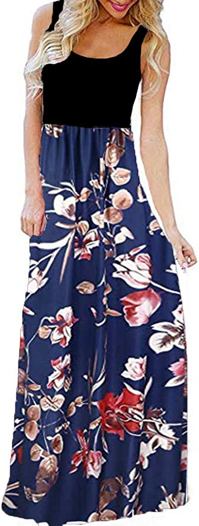 TOTOD Long Dress for 70% OFF Outlet Women Max 44% OFF Fl Bohemian O-Neck Sleeveless Casual
