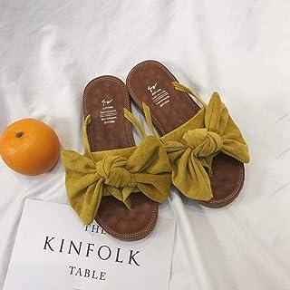 Summer sandals Beach FLIP Flop Pool Shoes,Women's wear non-slip sandals-pink_36,Slippers Soft Slide Flat EVA Sandals flip flop (Color : Yellow, Size : UK6.5)