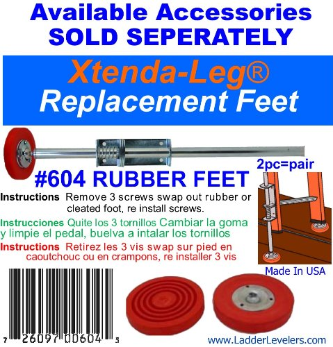 Xtenda-Leg Ladder Levelers with Cleated Feet