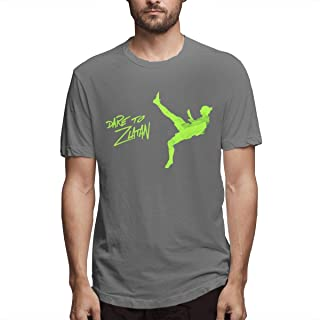 Ceasinng Men's Casual Logo Print of Dare to Zlatan Work T Shirts Deep Heather