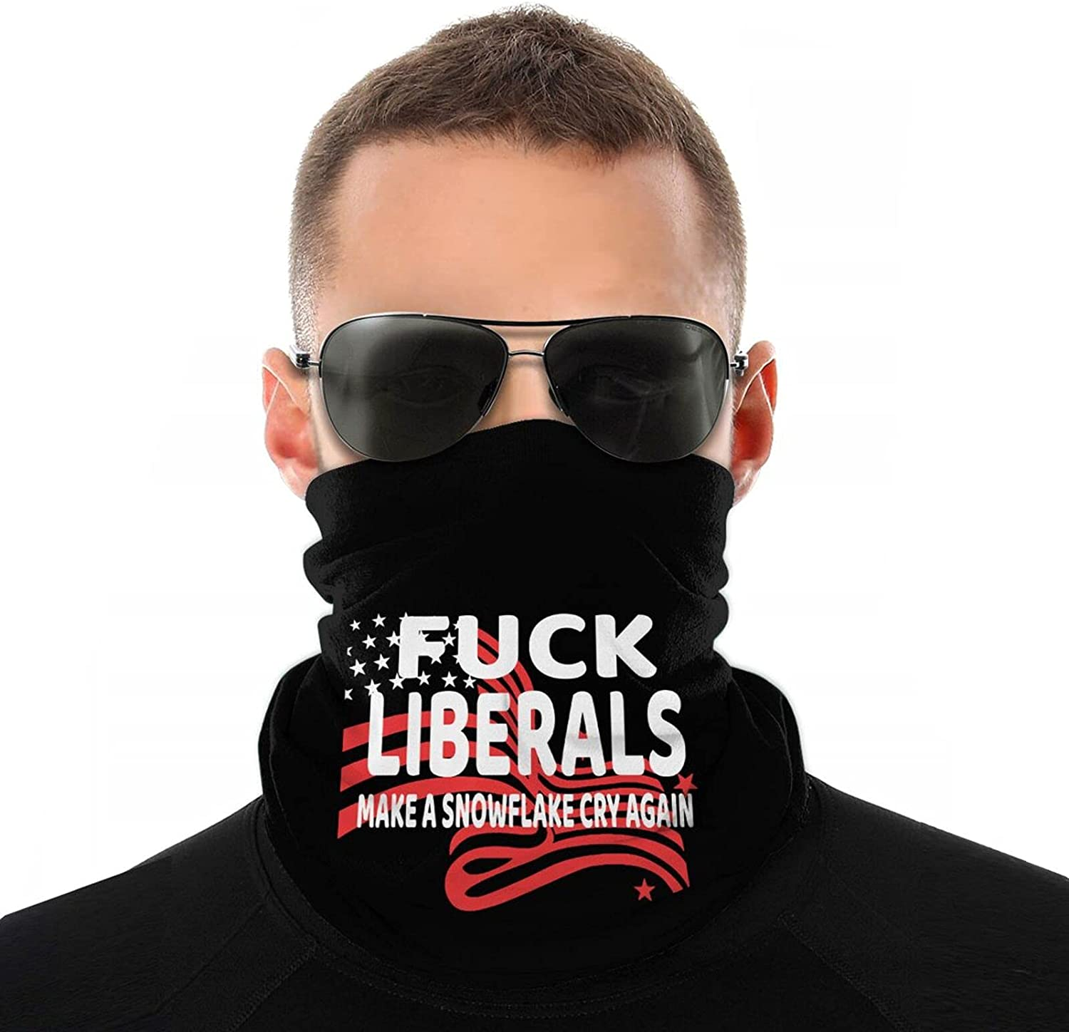 Double-Sided Cool Neck Gaiter Mask for Adult Fuck Liberals Full Face Covering Balaclava White