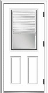 National Door Company ZZ364850L Primed, Left Hand Outswing, Prehung Front Door, 1/2 Lite 2-Panel, Clear Glass Internal Blinds, 36