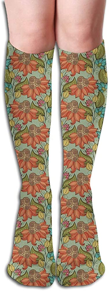 Men's and Women's Funny Casual Combed Cotton Socks,Flourishing Nature Pattern Rich in Color with Oriental Influences Old Fashioned Style