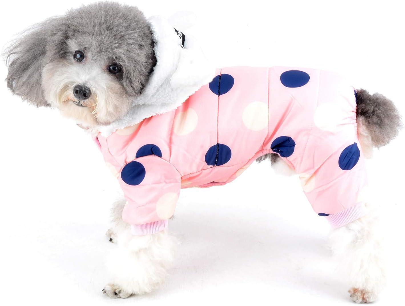 Ranphy Polka San Francisco Mall Dot Small Dog Jacket Denver Mall Hood Co Lined Bear Fleece with