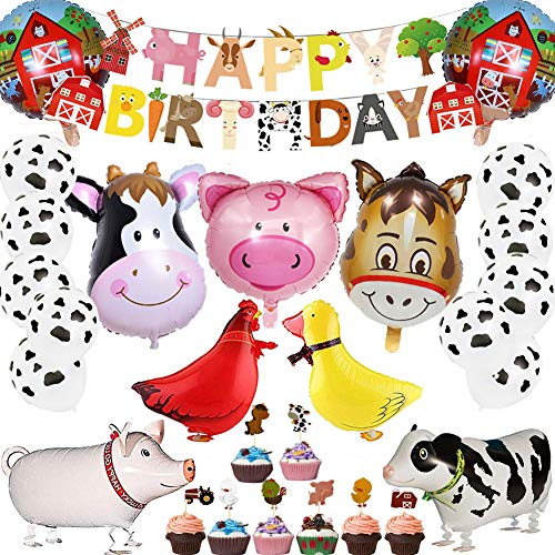 53Pcs Farm Birthday Party Supplies for Kids Barnyard Farm Animal Theme Party Decorations Animal Birthday Banner Farm Animal Walking Balloons Cow Print Balloons Cupcake Toppers Set for Boys Girls