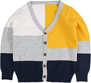 Peecabe Baby Boy Girl Sweater Children Cardigan Button-Down Coat Cotton Outfit Long Sleeve V-Neck Jacket 1-6T