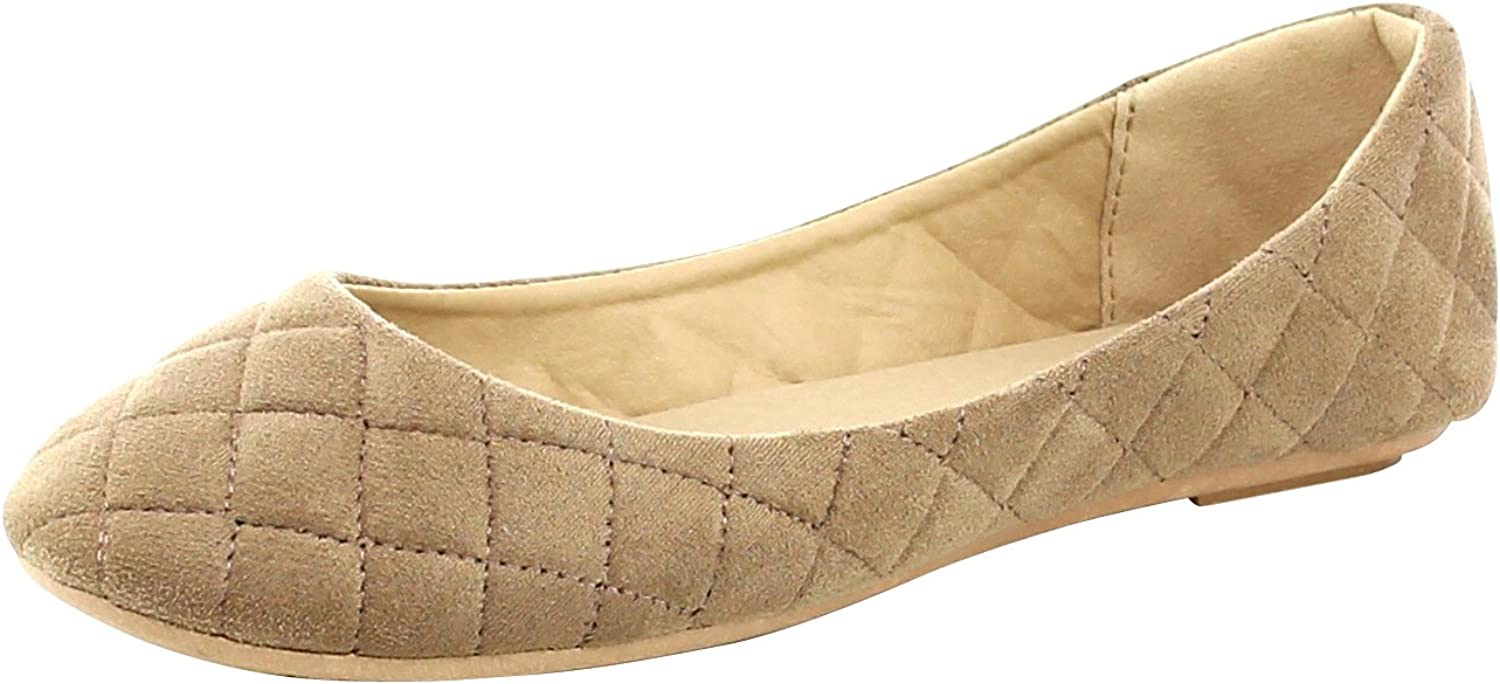 Cambridge Select Women's Closed Round Toe Quilted Slip-on Ballet Flat