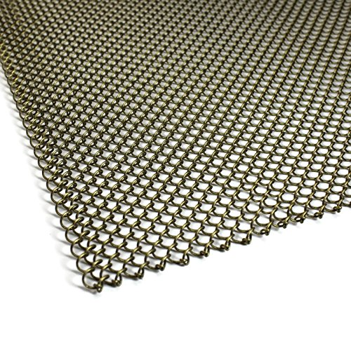 Midwest Kamin Bildschirm Mesh Vorhang. 2Platten à 61cm breit. Inkl. Display. Hergestellt in den USA, stahl, messing antik-optik, 20