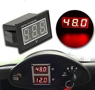 HUSUKU 48V LED Digital Volt Meter Battery Gauge for Golf Cart Club Car EZGO Yamaha (Red)