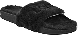 Fashion Thirsty Womens Faux Fur Sliders Love Slippers Platform Slip On
