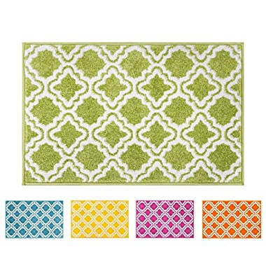 Well Woven Small Rug Mat Doormat Modern Kids Room Kitchen Rug Calipso Green 1'8  x 2'7  Lattice Trellis Accent Area Rug Entry Way Bright Carpet Bathroom Soft Durable