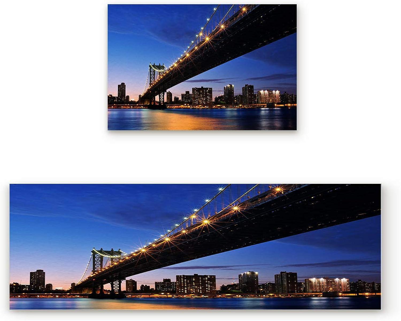 SODIKA Non Slip Kitchen Rug Set 2 Piece, Floor Mat Carpet Runner,Brooklyn Bridge City Night View (19.7x31.5in+19.7x47.2 inches)