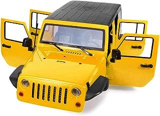 RCLions 313mm Wheelbase RC Car Body Shell Plastic for 1/10 RC Car Jeep Wrangler Axial SCX10-II 90046/90047 TRX4 kit (Yellow)