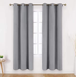 HOMEIDEAS Light Grey Blackout Curtains Wide 42 X 63 Inches Length Set of 2 Panels Room Darkening Curtains/Drapes, Thermal Insulated Grommet Window Curtains for Bedroom & Living Room