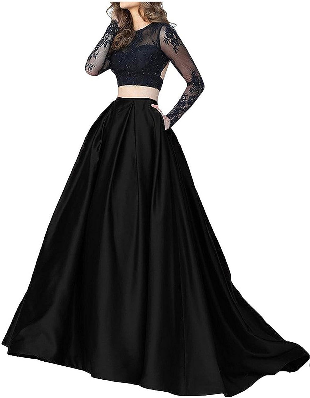 Ellystar Women's Jewel Long Sleeve Two Pieces Luxury Satin ALine Formal Dresses