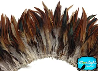 Moonlight Feather, Rooster Feathers - Natural RED Badger Strung Wholesale Rooster Hackle Feather (Bulk) - 1 Yard