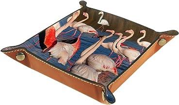 KAMEARI Skórzana taca flaming wzór klucz telefon moneta pudełko skóra bydlęca taca na monety praktyczne pudełko do przecho...