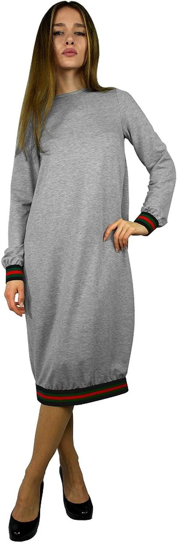 Baby'O Women's Designer Stripe Trimmed Comfy Dress