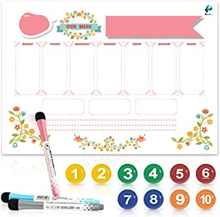 Meckily Magnetic Dry Erase Calendar for Refrigerator with 10 Markers & Magnetic Shopping List A3-16x12