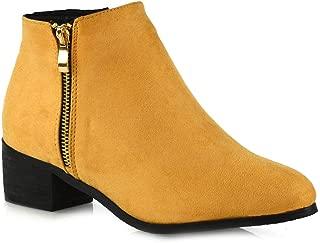 Womens Ankle Boots Low Block Heel Winter Biker Western Style Booties Shoes