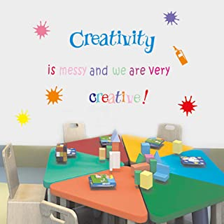 IARTTOP Inspirational Quote Wall Decal, Creativity is Messy and We are Very Creative Wall Sticker, Splatter and Splotches Mural Wall Art Decor for Classroom Nursery Wall Decorations