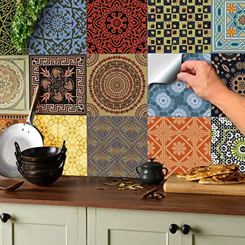 24x Color de la mezcla Lámina impresa 2d PEGATINAS lisas para pegar sobre azulejos cuadrados de 15cm en cocina, baños – resistentes al agua y aceite