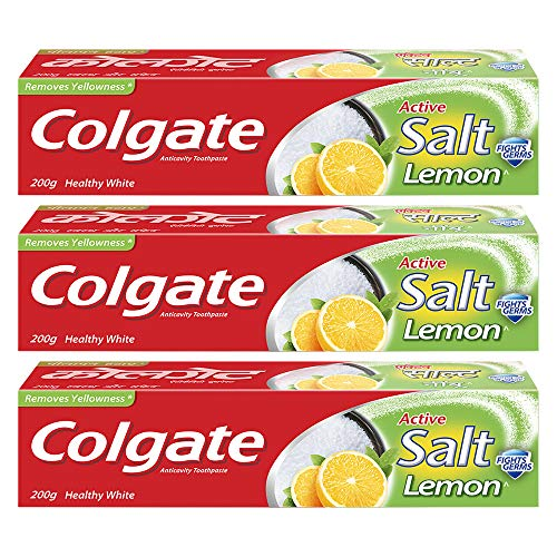 Colgate Active Salt Lemon Germ Fighting Toothpaste, 600g (200g x 3), for Healthy Gums and Teeth, Removes Yellowness