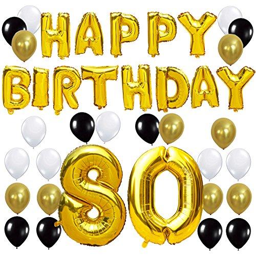 KUNGYO Letras Tipo Balón Doradas Happy Birthday+Número 80 Mylar Foil Globo+24 Piezas Negro Oro Blanco Globo de Látex 80 Años de Antigüedad Fiesta de Cumpleaños Decoraciones