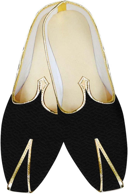 INMONARCH Mens Black Velvet Wedding shoes Designer Threading MJ15626