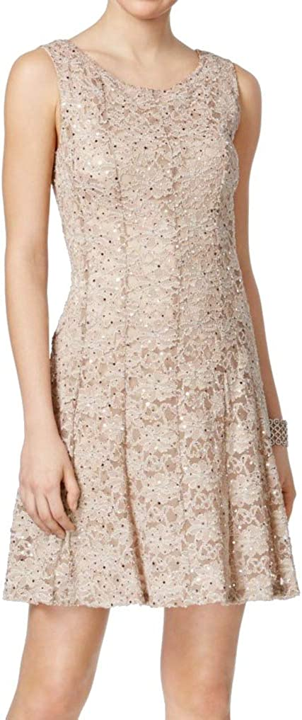 CONNECTED APPAREL Women's Sequined Lace Fit & Flare Dress