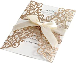 fayle Invitation Card 10pcs Engagement Wedding Glitter Elegant Party Paper with Ribbon Bowknot Hollowed Out Cover Greeting Holiday DIY(Rose Gold)