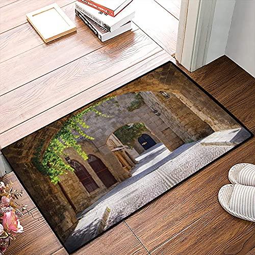 QDYLM Alfombra de baño de Microfibra esponjosa,Antigua Calle Italiana en la pequeña Ciudad Provincial de Toscana Italia Europa alfombras de Ducha de Suave Absorbente de Agua, 40x60 cm
