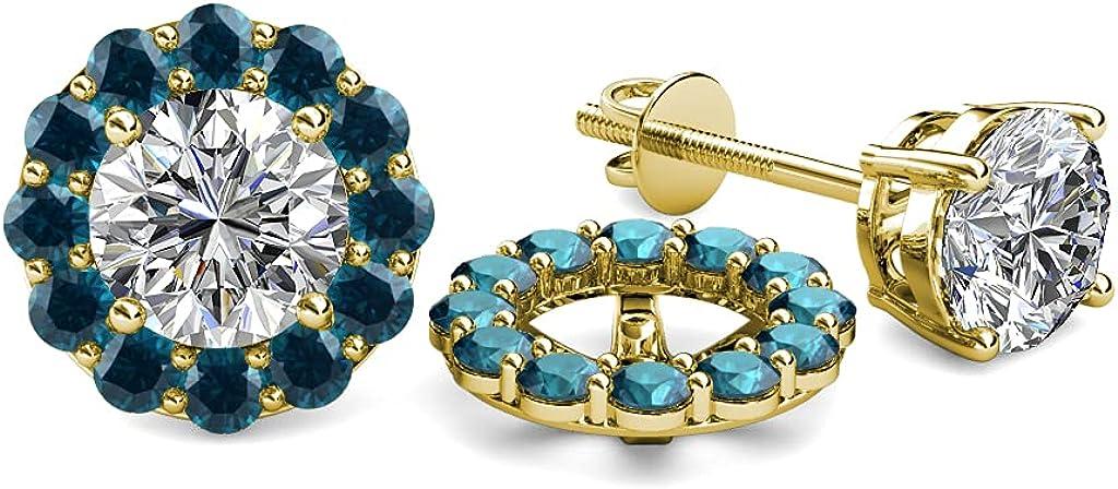TriJewels Blue Diamond Halo Jacket for Stud Earrings 0.72 ct tw in 14K Yellow Gold