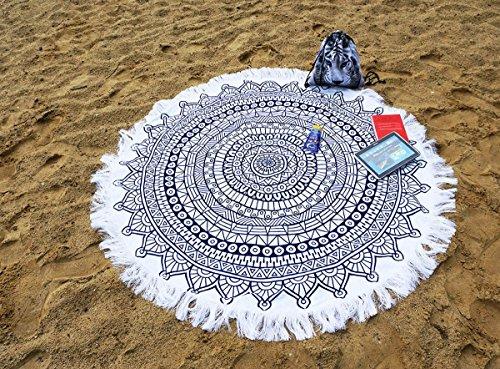 Ferocity Mandala runder Strandtuch aus Dicker frottee für Sand Wasser Pool Reisen Camping Picknick Navy Blau-Weiß Navy Blue-White [060]