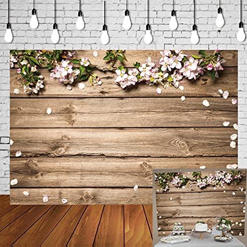 BUTEN 7x5FT Fleur Fond Mur Plancher En Bois Photographie Fond Feuille Verte Rose Pétale Photographie Fond Nouveau-Né Bébé Photographie Accessoire Photo Studio Prop