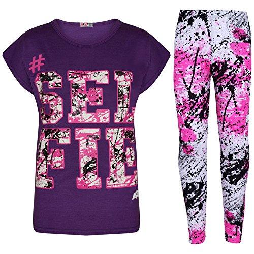 A2Z 4 Kids®, Set mit T-Shirt mit LOVE-Aufdruck und Leggings im Farbspritzer-Design für Mädchen im Alter von 7 bis 13 Jahren Gr. 11-12 Jahre, Selfie Splash Set lila